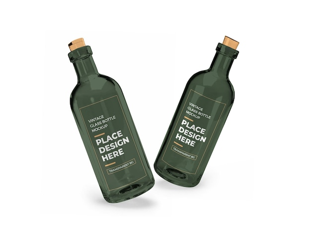 Maquette 3d de bouteille en verre vintage isolée