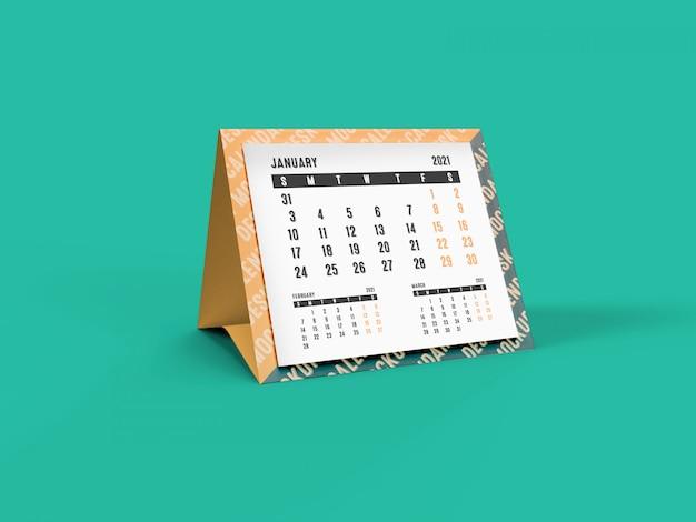Maquette 3d du calendrier de bureau pyramid 2021