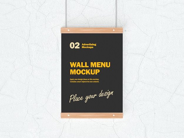 Maquette 3d du menu alimentaire suspendu pour les restaurants