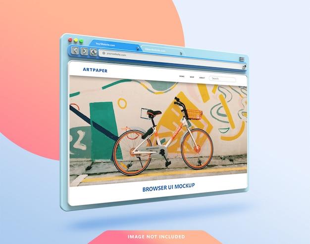 Maquette 3d de l'interface utilisateur du navigateur web avec des couleurs pastel