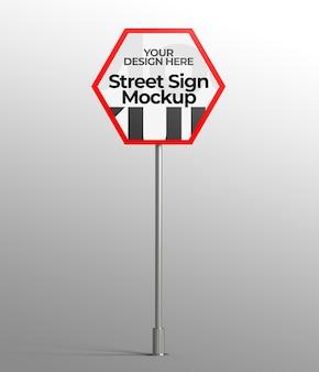 Maquette 3d isolée du panneau de signalisation pour la publicité ou l'image de marque