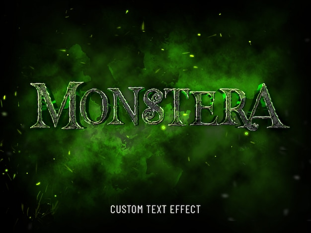 Maquette 3d maquette de style de police halloween monstera