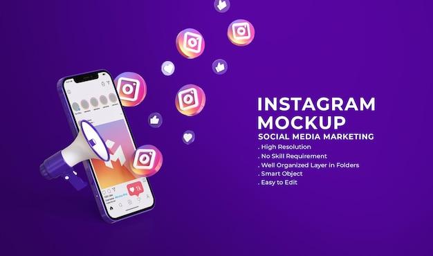Maquette 3d de médias sociaux instagram avec concept de marketing des médias sociaux