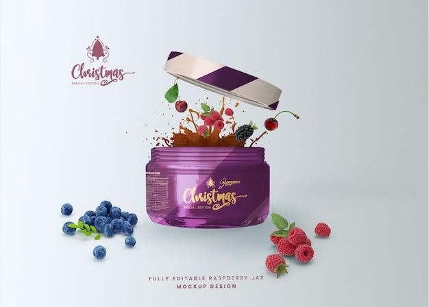 La maquette 3d a ouvert le pot de nourriture en verre de miel pour la présentation du produit