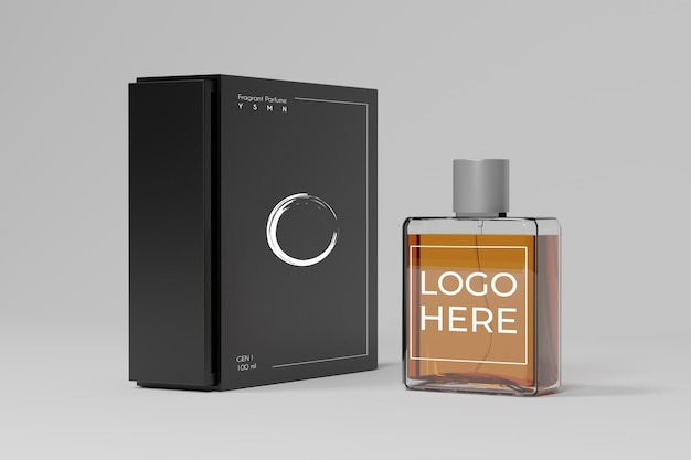 Maquette 3d de parfum et de boîte noire