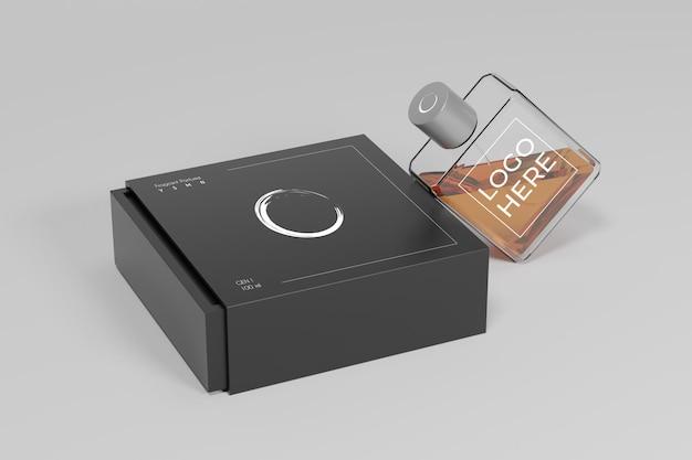 Maquette 3d de parfum et de boîte