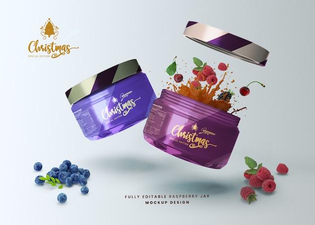 Maquette 3d une portion de pot de nourriture en verre de miel pour la présentation du produit