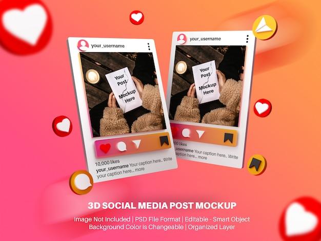 Maquette 3d pour la publication sur les réseaux sociaux instagram