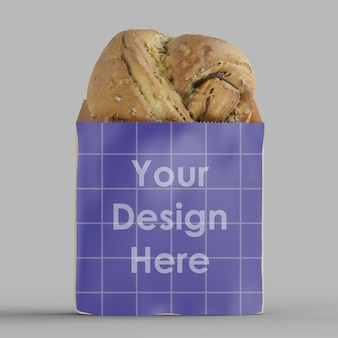 Maquette 3d de sac de boulangerie en papier kraft