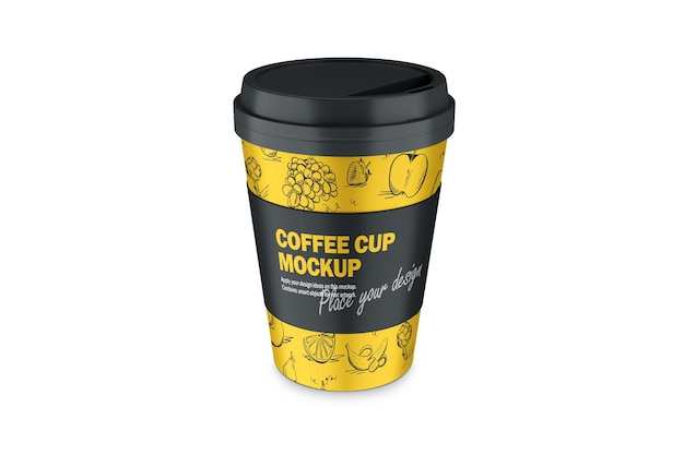 Maquette de 3d termo cup avec capuchon en plastique