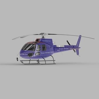 Maquette 3d vue demi-côté avant d'hélicoptère
