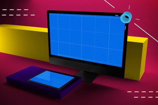 Maquette abstraite d'ordinateur et de tablette