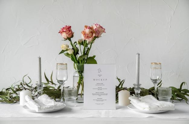 Maquette d'affichage du menu de la table
