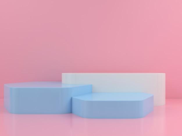 Maquette d'affichage de podium bleu blanc de forme géométrique