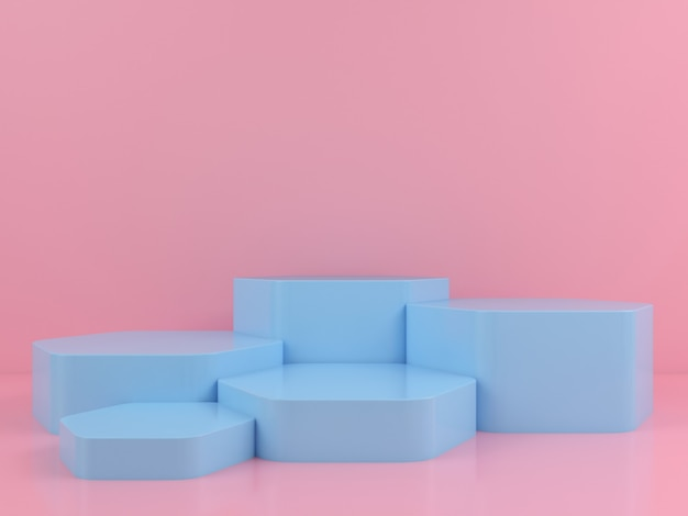 Maquette d'affichage de podium bleu de forme géométrique