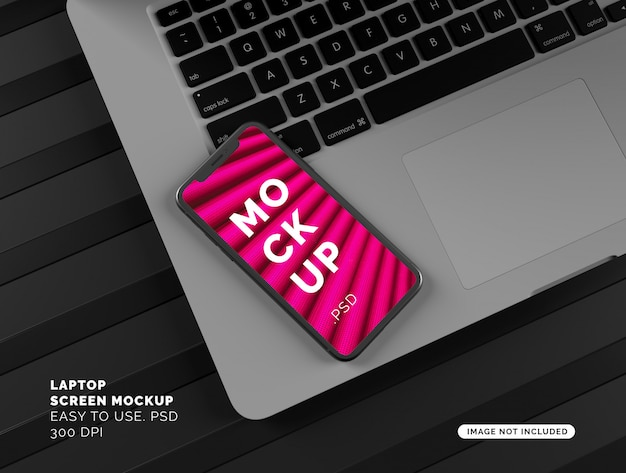 Maquette d'affichage de smartphone sur ordinateur portable