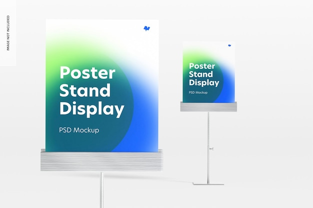 Maquette d'affichage de supports d'affiches métalliques, gros plan