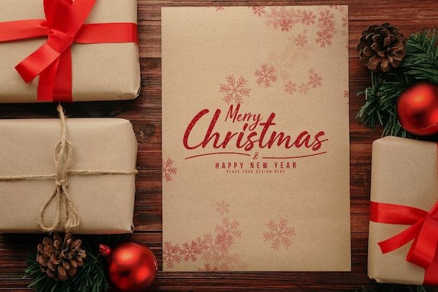 Maquette d'affiche a4 joyeux noël avec des décorations de cadeaux de noël
