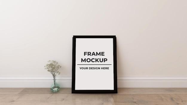 Maquette d'affiche de cadre photo blanc intérieur avec pot de plante