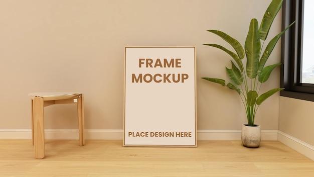 Maquette d'affiche de cadre sur le sol avec un design intérieur minimaliste