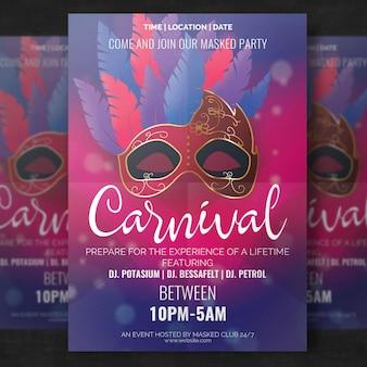 Maquette d'affiche de carnaval élégant avec masque réaliste