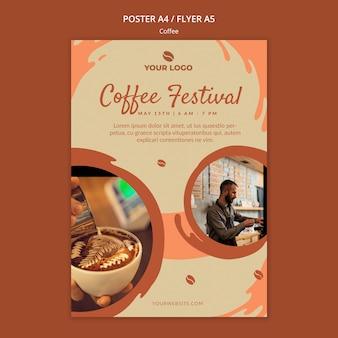 Maquette d'affiche de concept de café