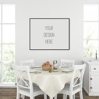 Maquette d'affiche, cuisine avec cadre horizontal