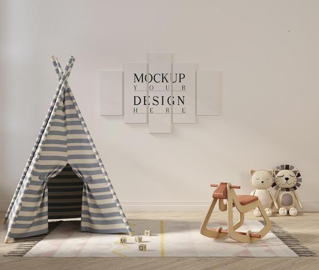 Maquette d'affiche dans un intérieur de salle de jeux mignon avec tente