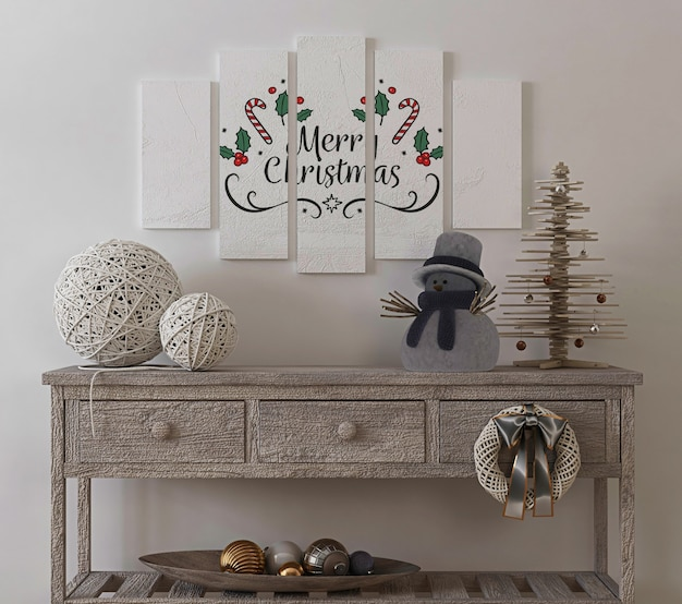 Maquette d'affiche dans un intérieur vintage avec arbre de noël et décoration