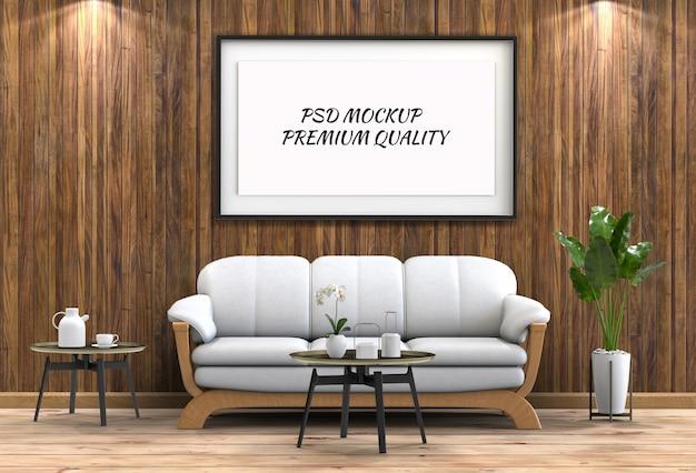 Maquette affiche dans le salon intérieur et un canapé