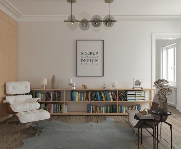 Maquette d'affiche dans un salon moderne classique
