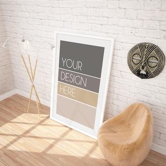 Maquette d'affiche encadrée verticale dans un intérieur moderne