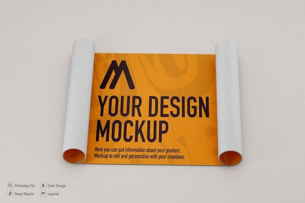 Maquette d'affiche enroulée sur une couleur douce