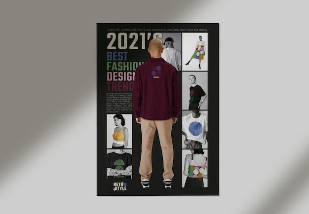 Maquette d'affiche d'entreprise de mode dans un style rétro