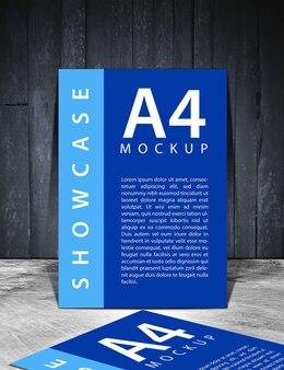 Maquette d'affiche flyer bleu avec une vieille texture en bois noir