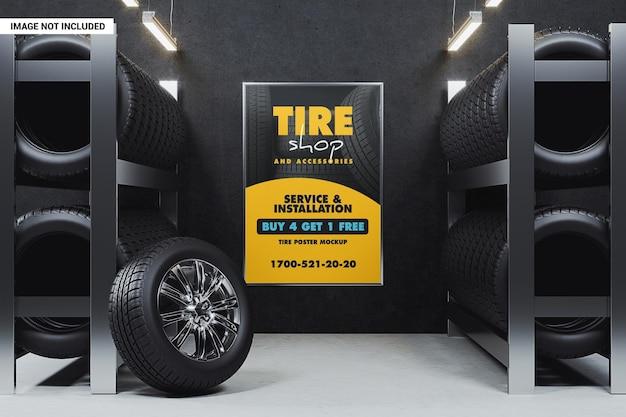 Maquette d'affiche de magasin de pneus