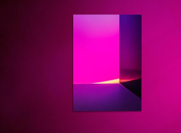 Maquette d'affiche psd avec lampe de projecteur de coucher de soleil rose