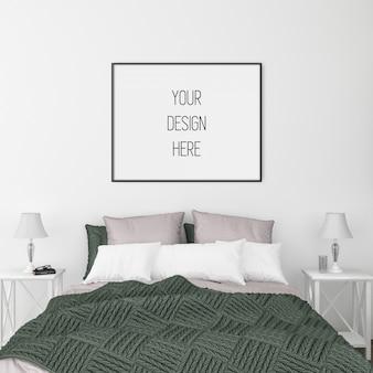 Maquette d'affiches, chambre à coucher avec cadre horizontal