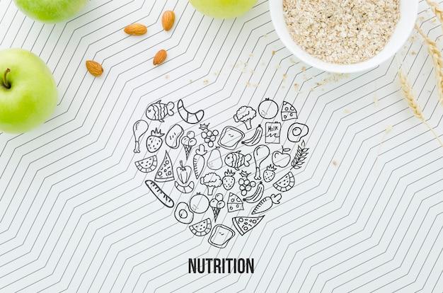 Maquette d'aliments sains et biologiques