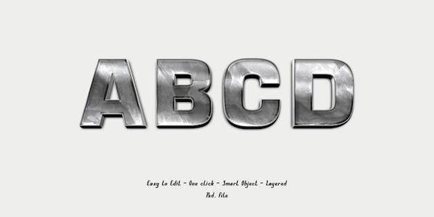Maquette alphabet police effet 3d avec texture argent
