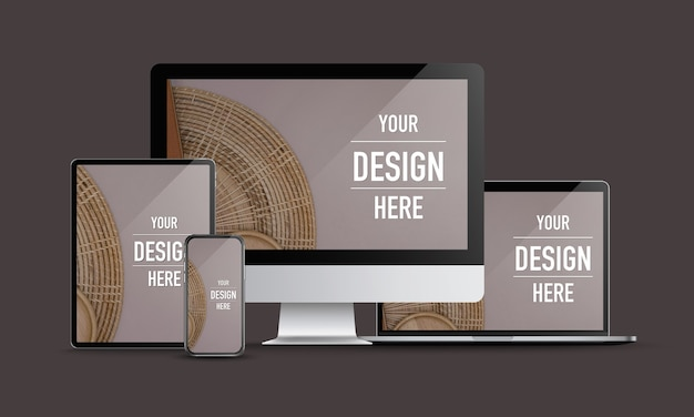 Maquette d'appareils numériques avec ordinateur de bureau, ordinateur portable, tablette et smartphone