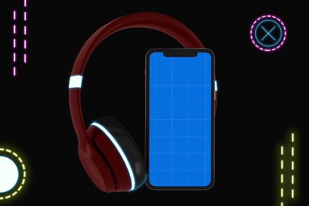 Maquette de l'application mobile de musique néon