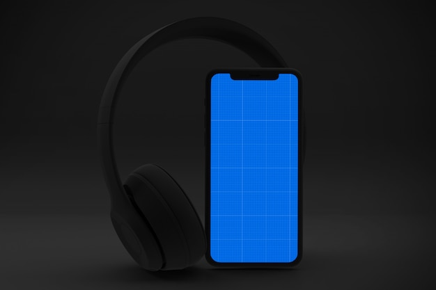 Maquette de l'application de musique dark mobile