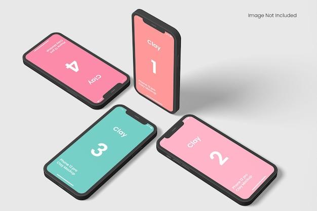 Maquette d'application pour smartphone en argile