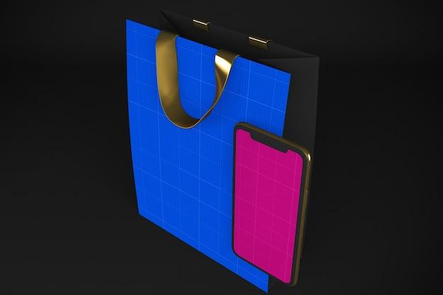 Maquette de l'application shopping or et sombre