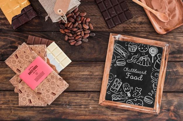 Maquette d'ardoise avec concept de chocolat