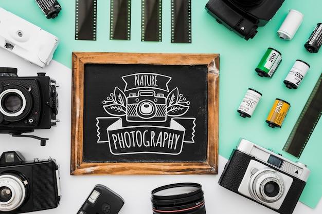 Maquette d'ardoise avec le concept de la photographie