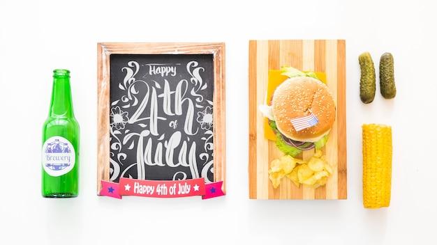 Maquette d'ardoise avec hamburger