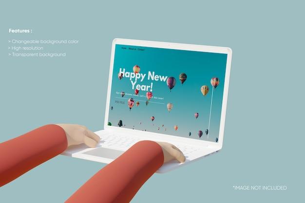 Maquette d'argile pour ordinateur portable plein écran avec main 3d