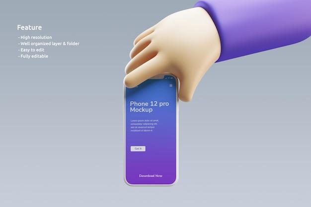 Maquette D'argile Pour Smartphone Avec Une Jolie Main 3d Le Tenant PSD Premium